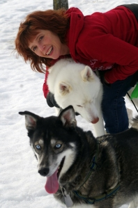 Cozy mystery author Rae Davies with the dogs in her life.